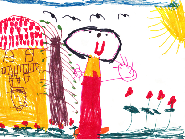 детска рисунка къща макове дете