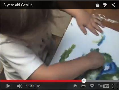 3 годишен малък гений рисува страхотно с пръсти (видео)