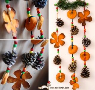 Коледни гирлянди от изсушени портокали