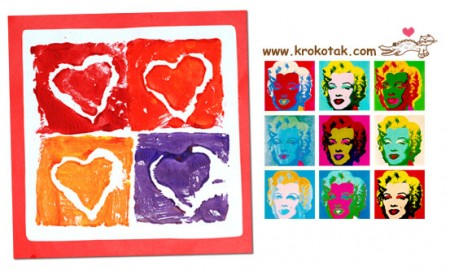 Картичка със сърца в стил Уорхол