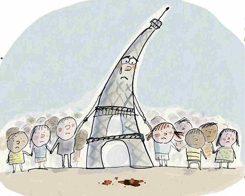 Рисунка на плачещата Айфелова кула помага на малките деца в Париж